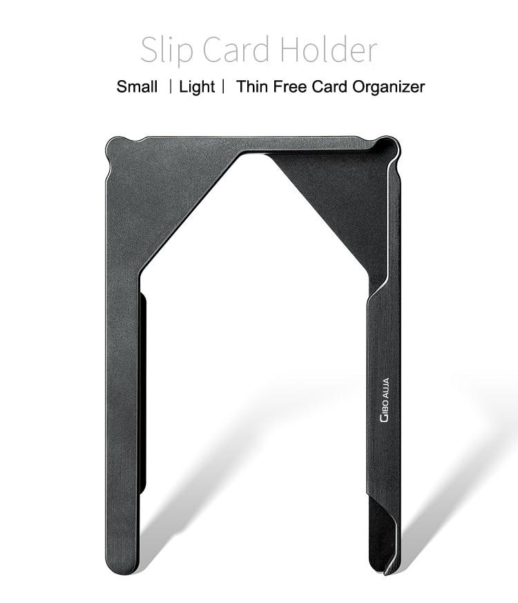 Mini carteira masculina compacta de alumínio, carteira compacta masculina feita em alumínio com espaço para cartões de marca