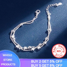Whole Solid 925 Sterling Silver Bracelets Double Layered Stars Beads Chain Bracelets & Bangles For Women Girls Wedding Jewelry faux gem flowers layered bracelets