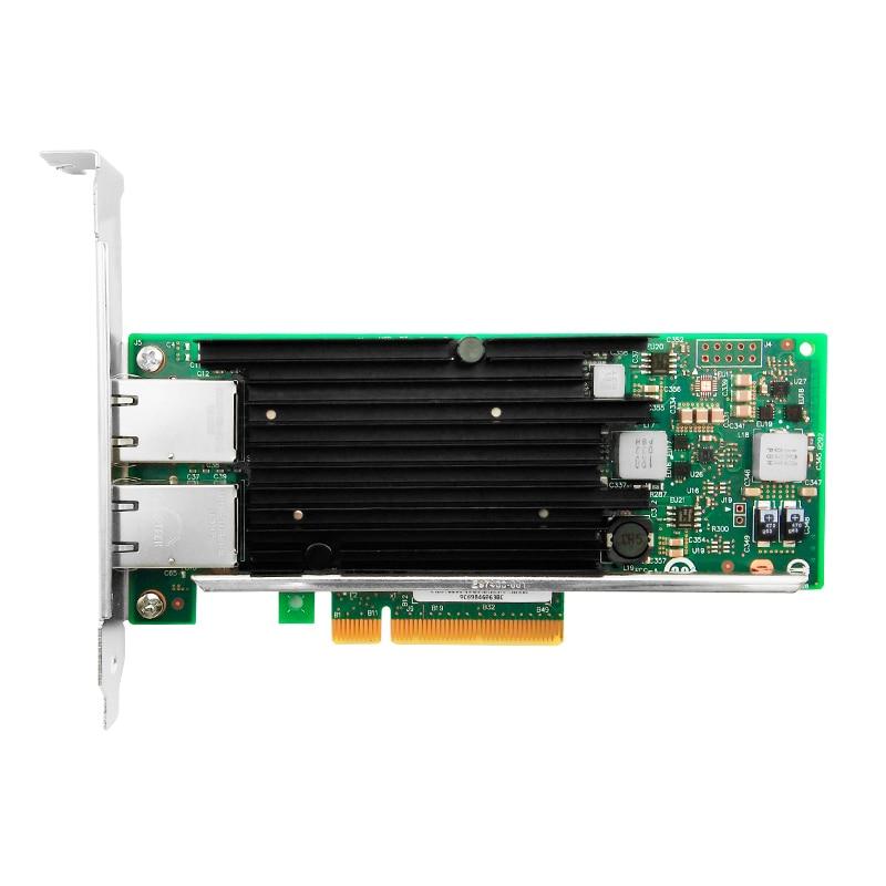 X540-T2 Intel X540 Chipset PCIe X8 Dual Copper RJ45 10Gbps Port Ethernet Network Card Compatible