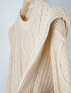 Image 3 - High Quality Wool Blend Vintage Style French Style Contour Coarse Knitted Sweater Jumper Pullover   Ladies Yellow/Beige Knit Top