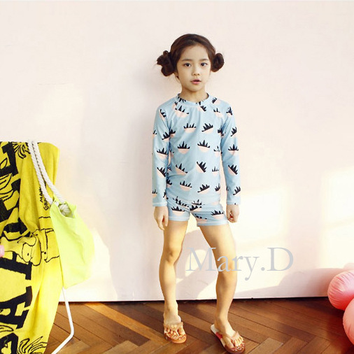 South Korea KID'S Swimwear Girls Big Boy Long Sleeve Shorts Sun-resistant Students Large Size Tour Bathing Suit Quick-Dry Baby S