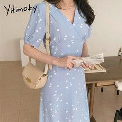 Yitimoky Цветочные женские в виде ромашек; Платье в Корейском стиле шик с короткими рукавами одежда с вырезом, модное повседневное летнее плать...