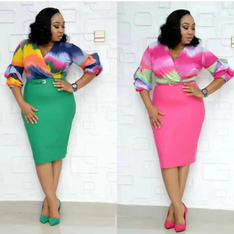 2019 New Arrival Sexy Fashion Style African Women Printing Autumn Plus Size Dress L-3XL