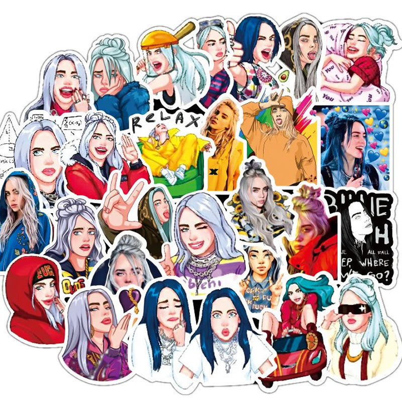 10/30/50 PCS Waterproof Billie Eilish Cartoon Stickers Skateboard Fridge Snowboard Guitar Motorcycle Laptop Sticker Classic Toy