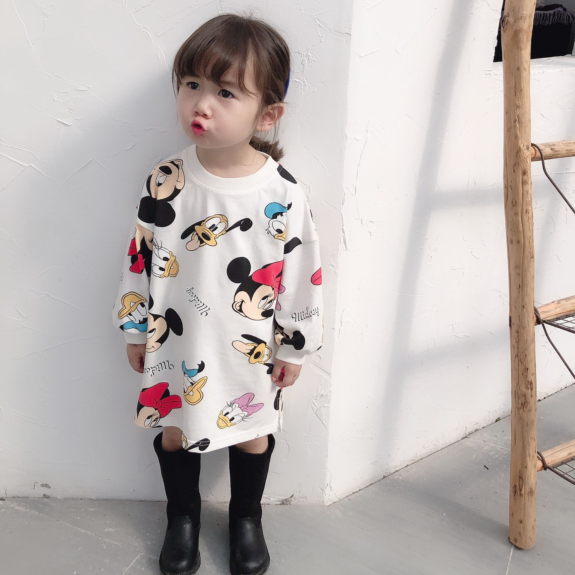 2020 Spring Cartoon Mickey Minnie Kids Dresses For Girls Autumn Children Clothing For Birthday Party 2-7 Years Casual Kids Dress