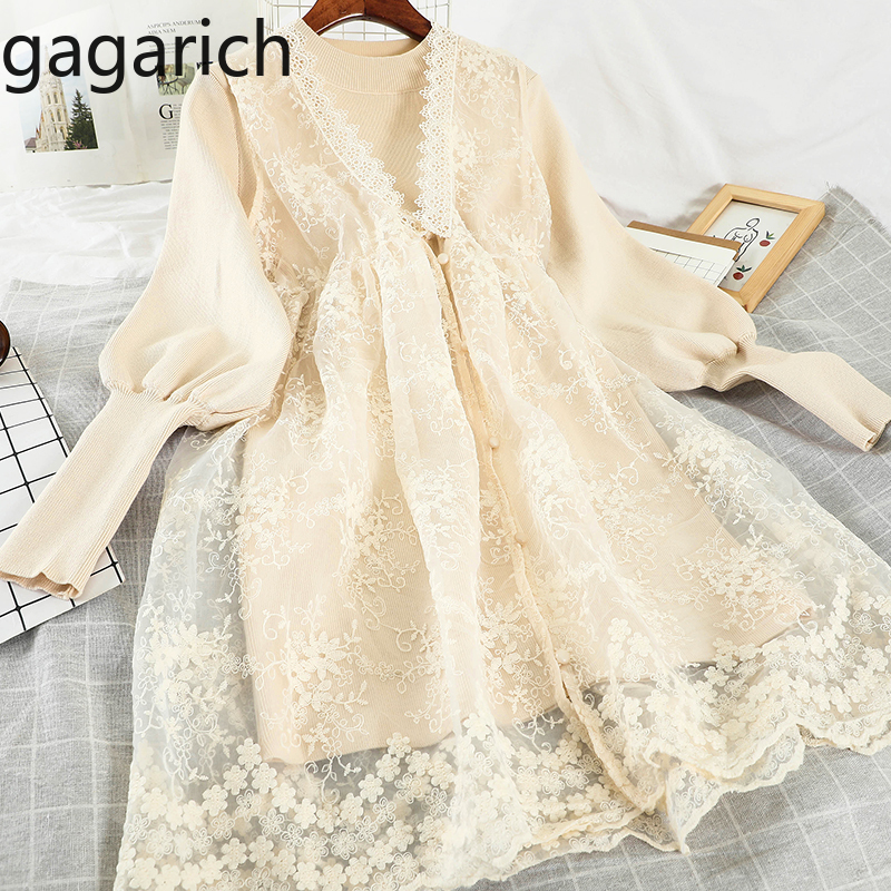 Gagarich Women Dress Suits Spring Elegant Knitting Lantern Long Sleeve Midi Vestidos Fashion Mesh Vest Dresses 2 Piece Set