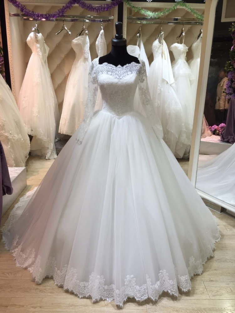 Ball 2018 Vintage Lace Long Sleeve Bridal Gown Lace Up Vestido De Novia Real Image Robe De Mariage Mother Of The Bride Dresses