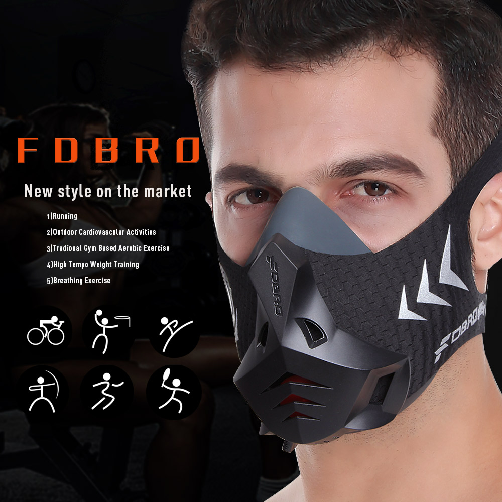 FDBRO 2019 Sports Mask Pro High Altitude Protective Breathing Trainer Air Filter Mask Phantom Training Running Dust Mask Cardio