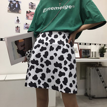 Korean version of ins retro spring new cow pattern A word skirt sweet cute casual slim skirt fashion trend package hip skirt(China)