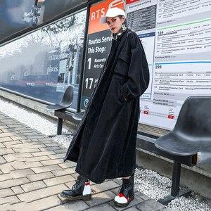 Image 5 - [Eam] 女性ヒョウ柄のコーデュロイロングビッグサイズトレンチ新スタンドカラールーズフィットウインドブレーカーファッション春秋2020 1D160