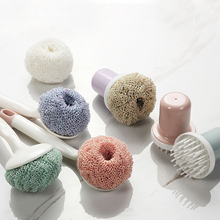 Kitchen Cleaning Brush Nano color Ball Long Handle for Hanging Strong Tools