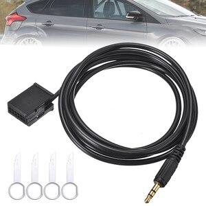 Radio samochodowe muzyka AUX w mężczyzna 3.5mm gniazdo Audio MP3 wejście kabel Adapter z klucze do usuwania dla Ford Focus 6000CD