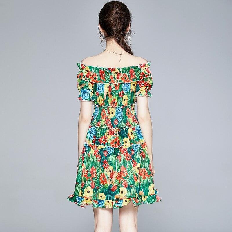 Летнее подиумное цветочное мини платье для женщин с открытыми