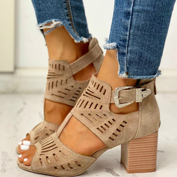 Women's Hollo-Out Block-Heel Sandals