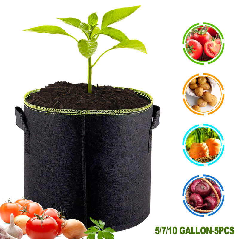 5 Pcs Merasa Tanaman Tumbuh Tas Sayuran Bunga Kentang Pot Wadah Penanaman Kebun Keranjang Pertanian Rumah Tumbuh Tas 5/ 7/10 Galon
