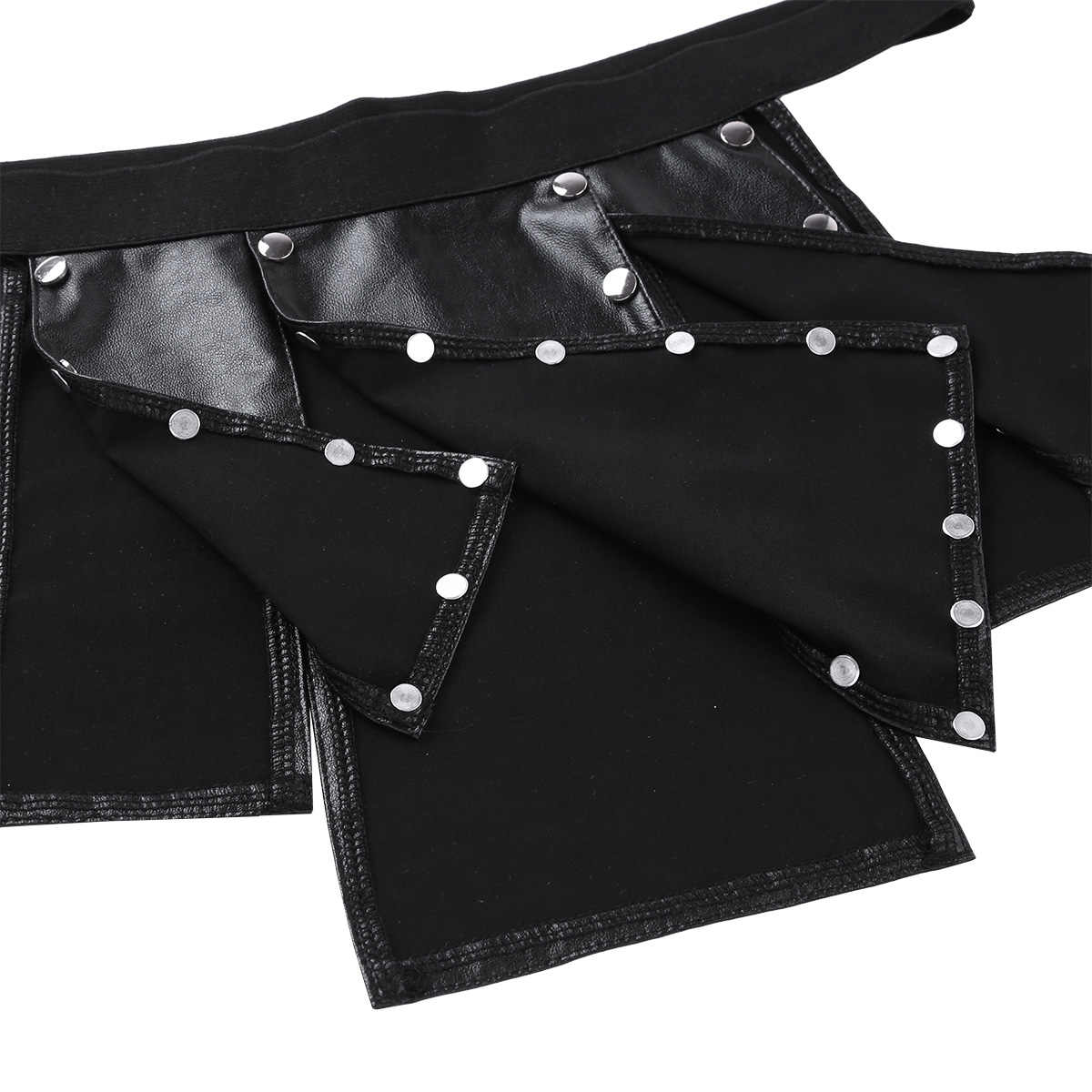Zwart Heren Lingerie Ondergoed Panel Faux Lederen Rok Slipje Laagbouw Split Crotchless Kilt Ondergoed Clubwear Sexy Gay Rok