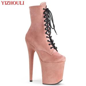 20Cm Stiletto, 8in Paaldansen Laarzen Van Een Sexy Nachtclub Model, Party Stage Met Hakken, enkellaarsjes(China)