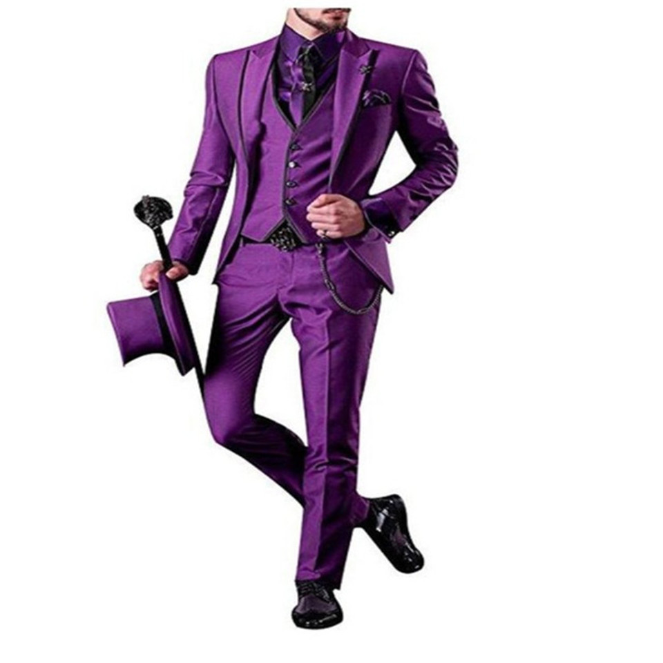 New Classic Men's Suit Smolking Noivo Terno Slim Fit Easculino Evening Suits For Men Purple Business Dance  Best Man Men's Summe