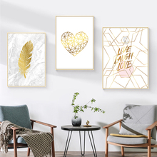 Nordic Marble Canvas Painting Gold Feather Poster Heart Abstract Wall Art Pictures for Living Room Unframed