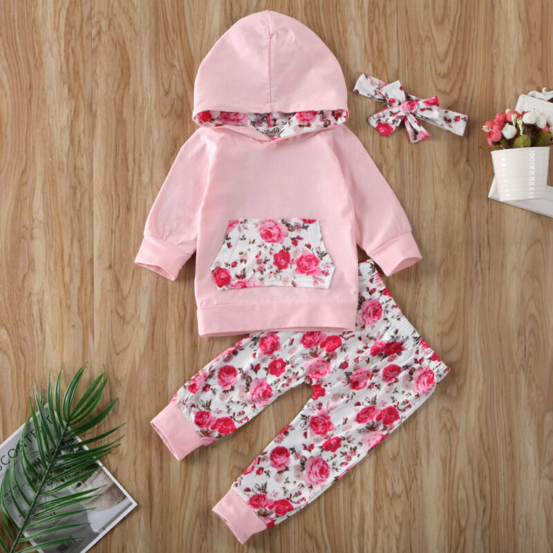 Spring Infant Baby Girl Outfits Floral Long Sleeve Hooded Sweatshirt Top Flower Print Leggings Pants Headband 3Pcs Clothes Set