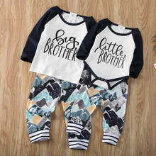 Big/Little Brother Family Matching Set Baby Boy Tops Long Sleeve Letter Romper Pants 2PCS Outfits Clothes Clothings Sunsuits(China)