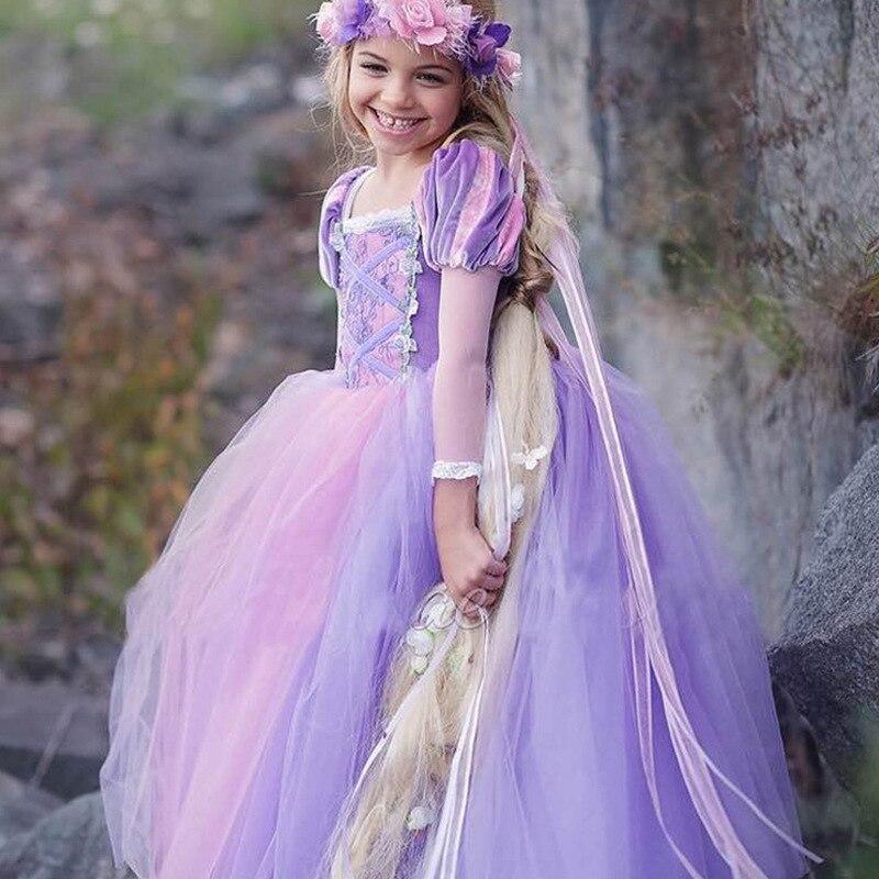 Cinderella Girls Dress Rapunzel Cosplay Costume Princess Dress Up Belle Anna Elsa Dress Sleeping Beauty Kids Vestidos Infantil 3