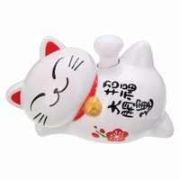 1pc New Solar Powered Lucky Maneki Neko Waving Beckoning Fortune Cat Car Decor