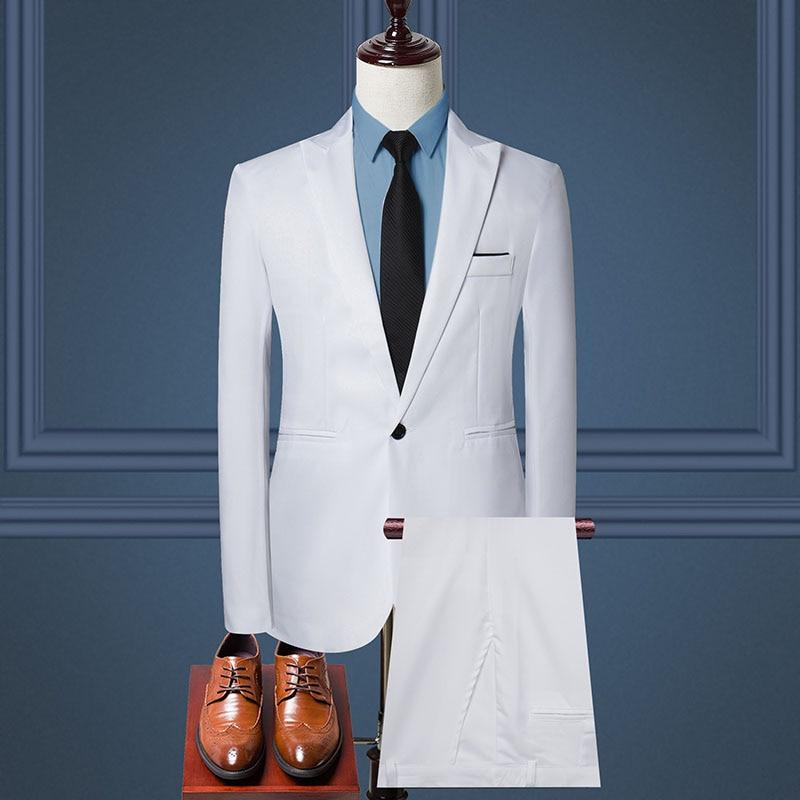 2019 Business Casual Men's Suit 2 Piece Set And Single Jacket Slim Straight Cotton Men's Coats Off-white