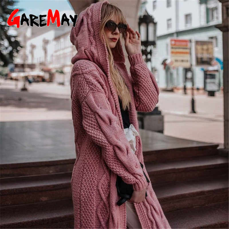 Women Sweaters 2019 Winter Plus Size Long Sweater Coat Korean Knitted Hoodie Sweater Jacket Long Women Cardigans Wool Sweater