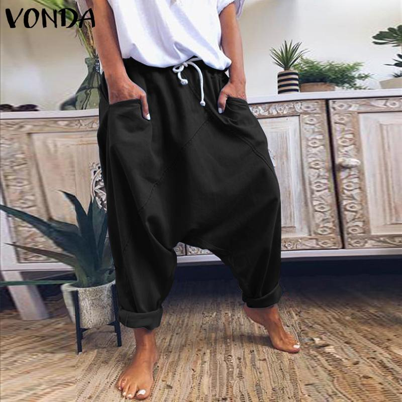 Women Demin Harem Pants Casual Elastic Waist Loose Pants VONDA 2019 Office Ladies Bottoms Party Female Trousers Plus Size S-5XL