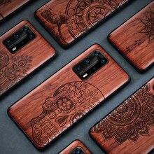 À prova de choque caso telefone de madeira real para huawei p30 lite p30 pro p40 pro p40 lite p20 pro caso de luxo de madeira tpu capa p40 pro funda