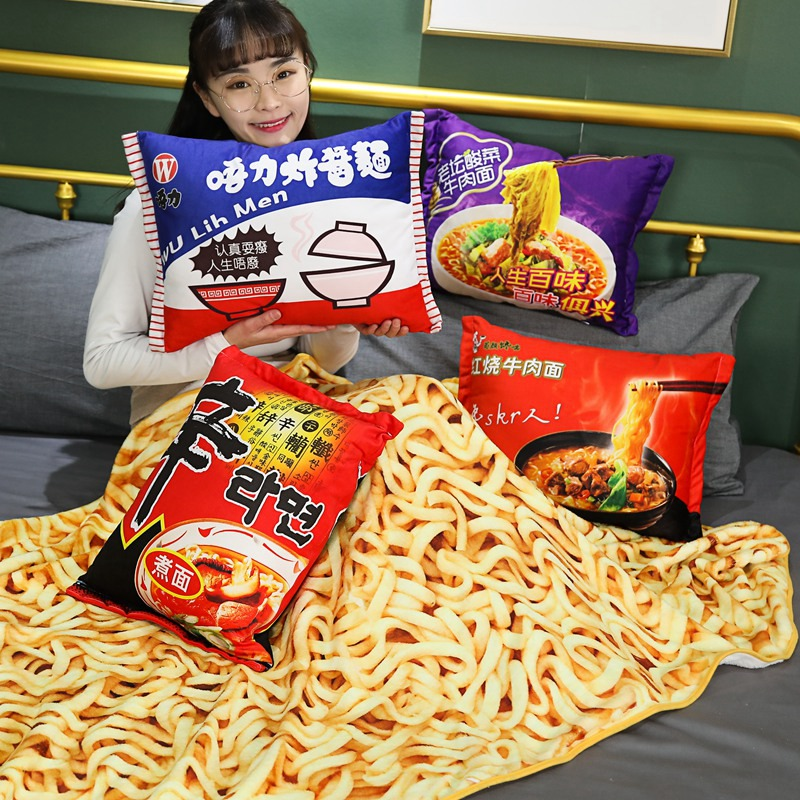 Simulation Instant Noodles Plush Pillow With Blanket Stuffed Braised Beef/Lao Tan Sauerkraut Beef/Fried Noodles Shin Ramen Gifts(China)