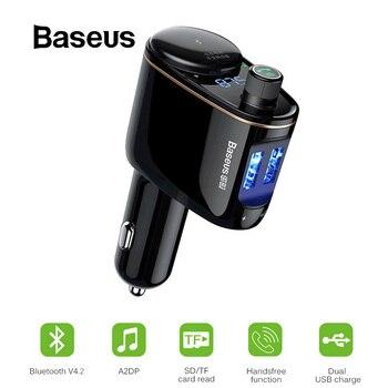 Baseus Bluetooth Car Charger FM Transmitter LED Digital Voltage Display Car Cigarette Lighter Socket Splitter Car Phone Charger