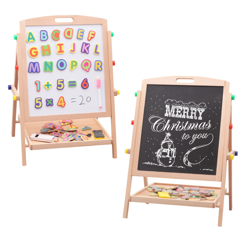 CHILDREN'S Drawing Board Building Blocks Adjustable Holder Painted Description Element Board Double-Sided Magnetic Blackboard Wh