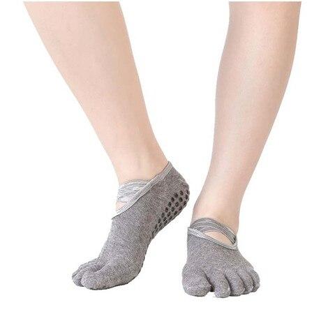 Meias com Cinto Meias para Pilates Par de Mulheres Profissionais Deslizamento Algodão Yoga Cruz Cinco Toe Mostrar Baixo Corte Ballet Fitness 1 Não