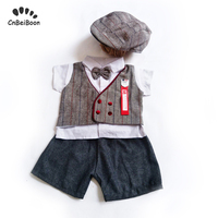 2019 Fashion Dress Newborn Baby Boys clothing sets Gentleman short Sleeve shirt shorts hat 3pcs Cotton Birthday party clothes
