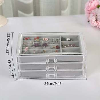 Acrylic 3 Layers Velvet~ Jewelry Box Display Holder