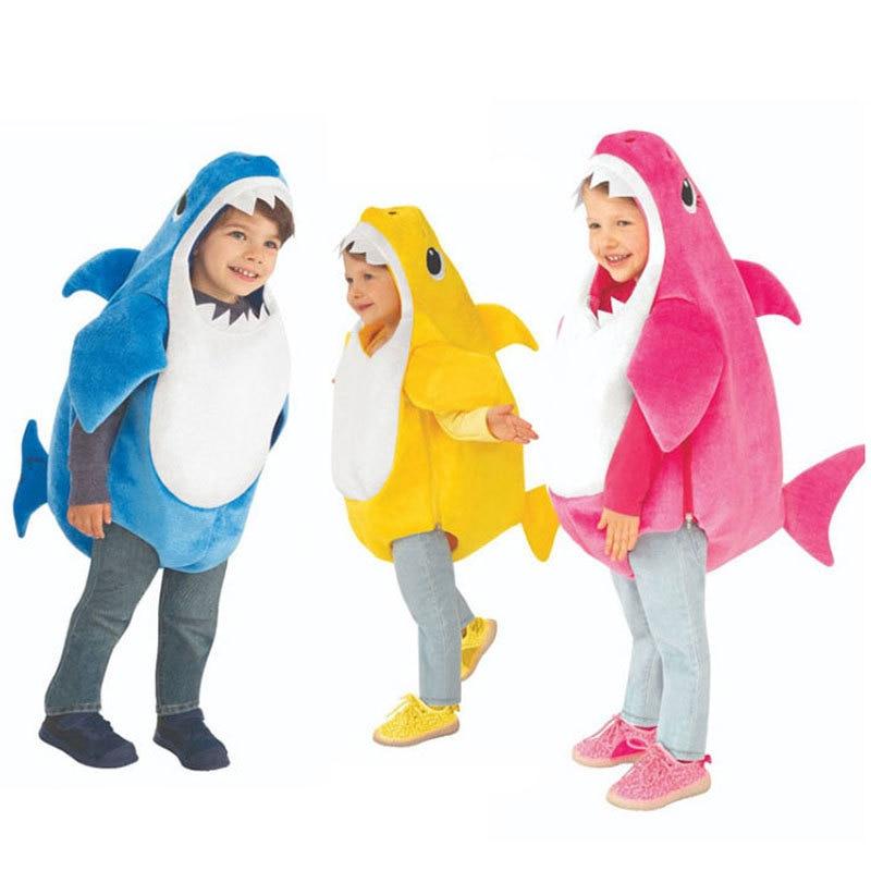 Yeni varış Unisex Toddler aile köpekbalığı çocuklar cadılar bayramı 3 renkler Cosplay bebek kostümleri