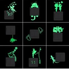 Kids Sticker Decal Luminous-Switch Cat-Fairy Home-Decor Moon-Star Glow-In-The-Dark Cartoon