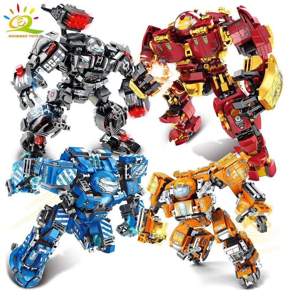 HUIQIBAO City War Super Armor Robot Building Blocks Military Warrior Mecha Figures Weapon Bricks Toys Man For Children Gift
