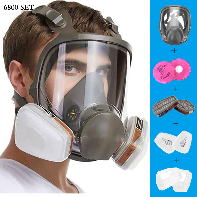 Anti-Fog 6800 Full Face Respirator Gas Mask Industrial Painting Spraying Respirator Safety Work Filter Formaldehyde Protection