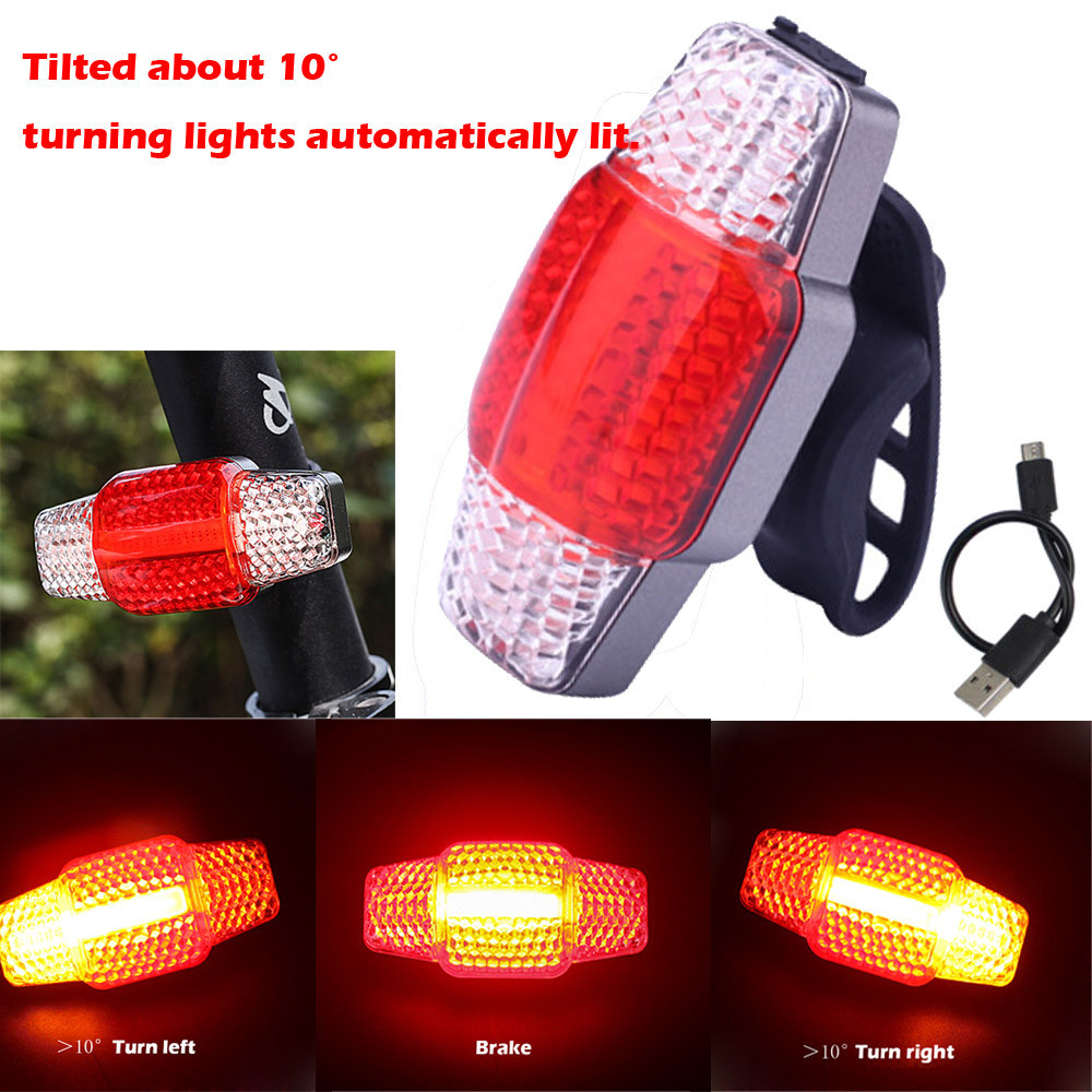 COB LED Intelligent Blinker Brake Bicycle Light USB Rechargeable Bike TailLight Bicycle Intelligent Turn Signal A1