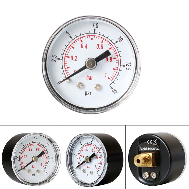 Pressure Gauge 40mm 1/8 BSPT Rear Back 15 30 60 160 200 300 PSI & Bar For Air Gas Wate Fuel