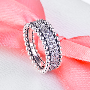 Image 5 - 2020 Valentines Beaded Pave Band Ring femme 925 Sterling Silver Clear CZ Wedding Rings for Women Fashion Jewelry anillos mujer