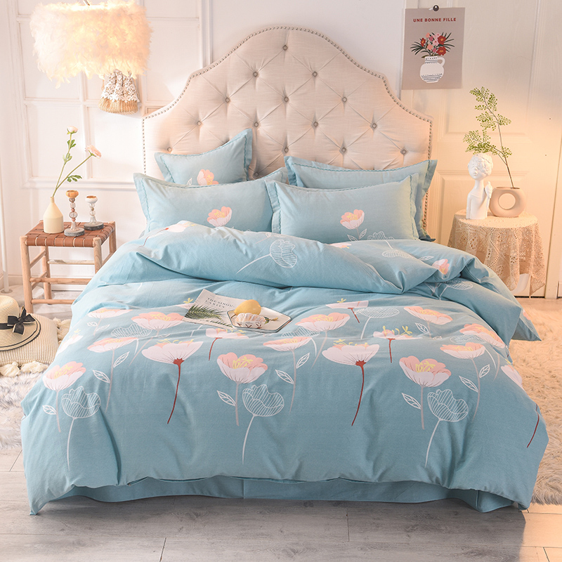 100%Soft Brushed Cotton Bed Sheet Set Fitted Sheet Duvet Cover With Zipper Twin Queen King Bedding Sets For Single Double Bed