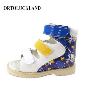 Ortoluckland Boys Leather Sandals Children Printing Orthopedic Shoes For Kids Toddler Platform Ankle Medical Flatfoot Sandals leather sandals boys 2020 100