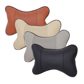 New Arrival Car Neck Pillows Both Side PU Leather Single Headrest Fit For Most Cars Filled Fiber Universal Car Pillow - image