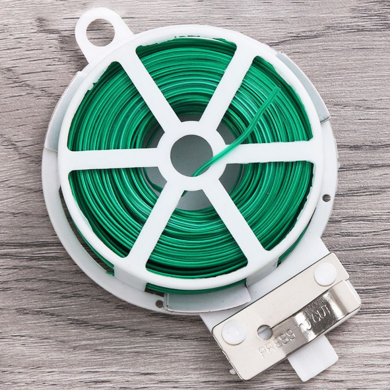 20/30/50/100M Plant Twist Tie With Cutter Sturdy Green Coated Wire For Gardening Home Office Reusable Wire Cable With Slicer