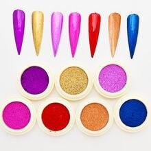 1 Pc solide miroir poudres Nail Art miroir Pigment poudre ongles paillettes 7 couleurs brillant Chrome poudre avec 1 brosse manucure ensemble