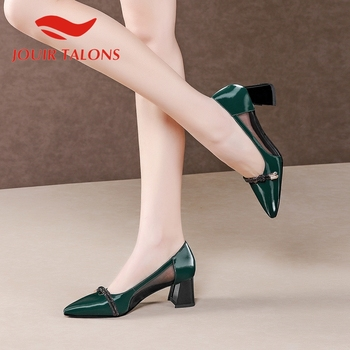 JOUIR TALONS 2020 New Arrivals Genuine Leather Women Sandals Hoof Heels Pointed Toe Pumps Summer Office Lady Women Shoes
